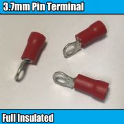 Red Ring Hoop Fully Insulated Electrical 3.7mm Crimp Terminals Cable Wire
